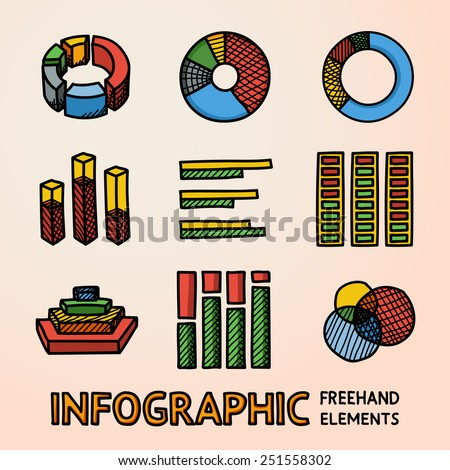 Set of color hand drawn infographic elements - pie charts, graphics, rates, diagrams etc. Vector - stock vector