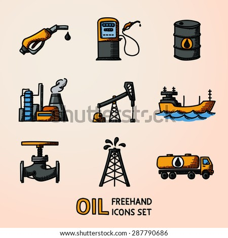 Set of color handdrawn oil icons - barrel, gas station, rigs, tanker, oil truck, plant, valve. Vector - stock vector