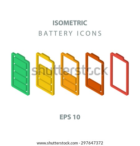 Set of color isometric battery icons. - stock vector