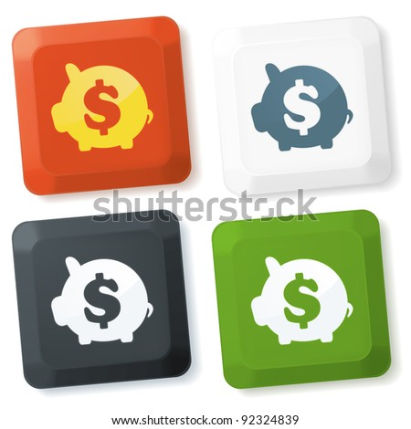 Set of color keyboard buttons with saving sign - stock vector