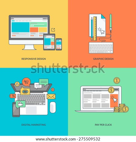 Set of color line icons on the theme of web and graphic design, internet marketing - stock vector