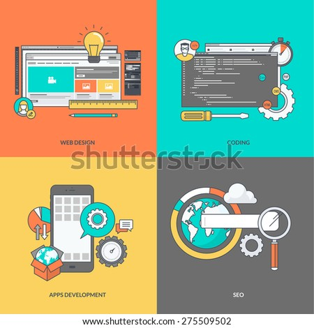 Set of color line icons on the theme of web development - stock vector