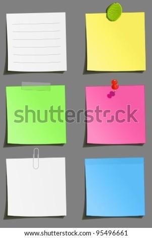 Set of color notes: clip, tape, plasticine, sticker, pin attachment - stock vector