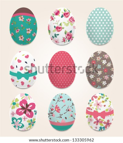 Set of color painted Easter eggs,flower pattern vector background - stock vector