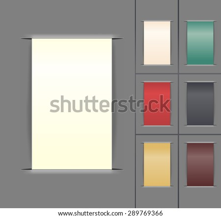 set of color paper labels. vector illustration - stock vector