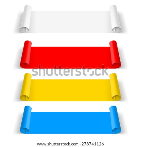 Set of color paper sticker isolated on  background - stock vector
