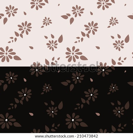 set of color patterns with flowers in brown and beige - stock vector