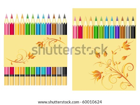 Set of color pencils. Vector illustration.