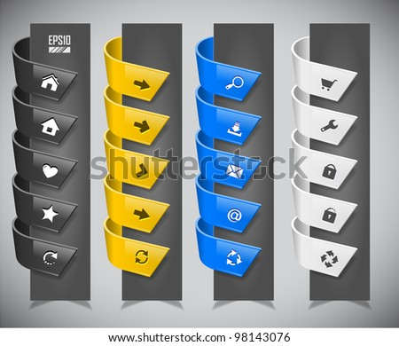 set of color plastic ribbons. Vector illustration - stock vector