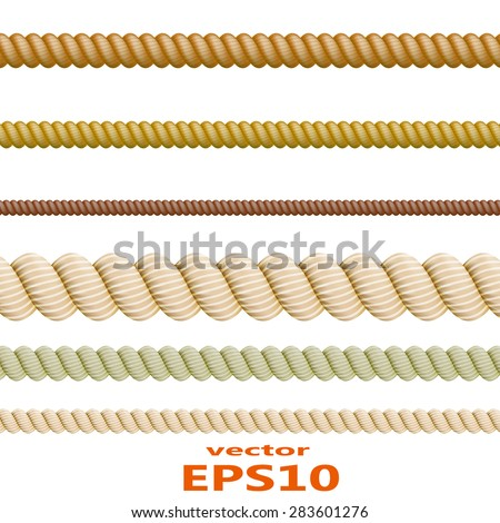 Set of color ropes. Vector illustration
