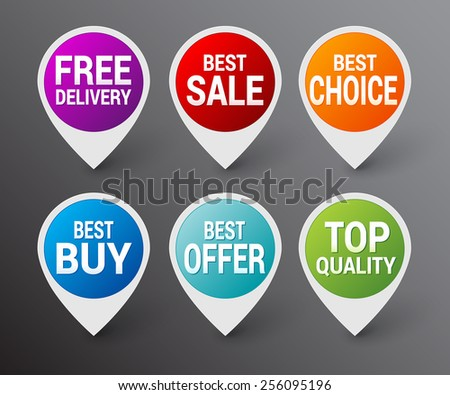 Set of color sale pointer - stock vector