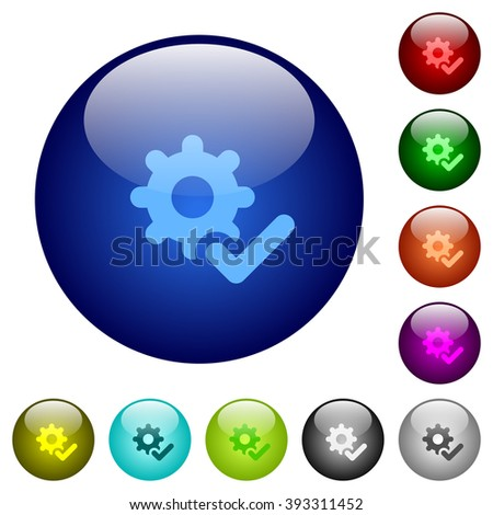 Set of color settings ok glass web buttons. - stock vector