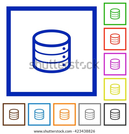 Set of color square framed database flat icons on white background