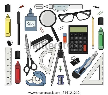 Set of color stationery tools: marker, paper clip, pen, binder, clip, ruler, glue, zoom, scissors, scotch tape, stapler, corrector, glasses, pencil, calculator, eraser, knife, compasses, protractor - stock vector