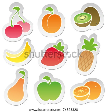 set of color stickers with nine stylized cartoon fruits - stock vector