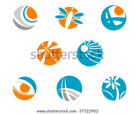 Set of color symbols isolated on white - abstract emblem or logo template. Jpeg version also available - stock vector