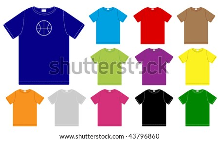 Set of Color T-Shirts Templates - stock vector