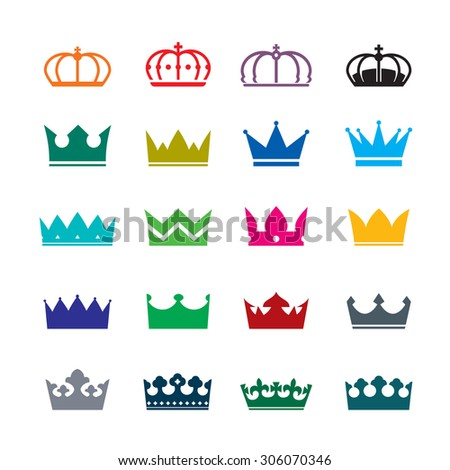 Set of color vector crowns - stock vector