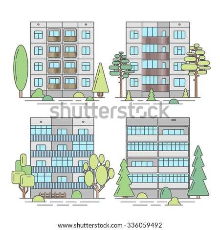 Set of color vector linear facades of panel houses.Classic blocks of flats architectural symbols and design elements.Detailed collection for product promotion and advertising on white background - stock vector