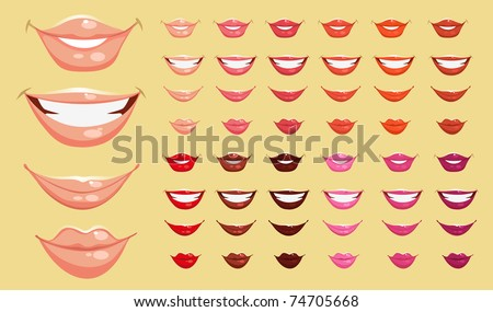 set of color vector lips - stock vector