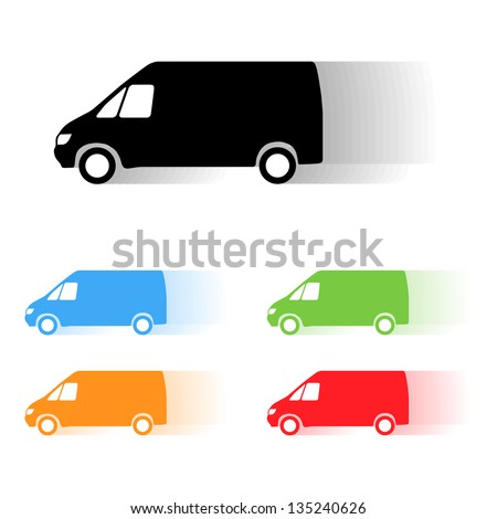 Set of color vector moving van silhouettes - stock vector