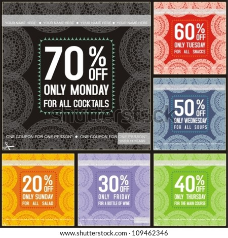 Set of color vector restaurants sale tickets - stock vector