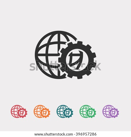 Set of color web icons: black globe icon, red globe icon, orange globe icon, blue globe icon, green globe icon, purple globe icon - stock vector