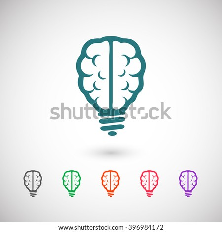 Set of color web icons: blue bulb brain icon, black bulb brain icon, green bulb brain icon, orange bulb brain icon, red bulb brain icon, purple bulb brain icon - stock vector