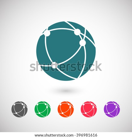 Set of color web icons: blue connect globe icon, black connect globe icon, green connect globe icon, orange connect globe icon, red connect globe icon, purple connect globe icon - stock vector