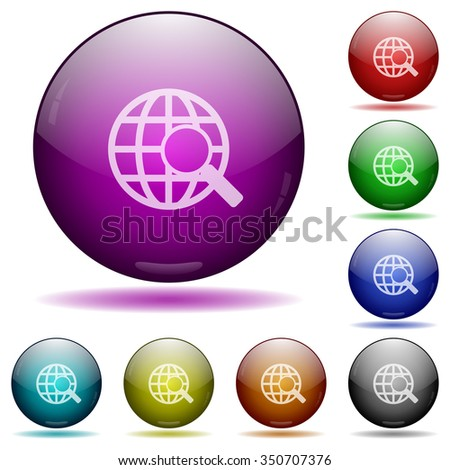Set of color web search glass sphere buttons with shadows. - stock vector