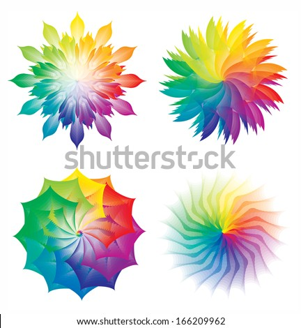 Set of Color Wheels / Circles / Flowers Rainbow Colors - stock vector