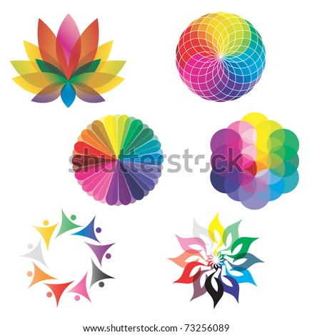 Set of Color Wheels - Circles / Lotus Flower /  Flower of Life in Rainbow Colors - stock vector