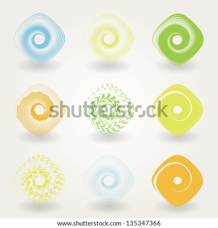 set of colored abstract icons. Vector eps10