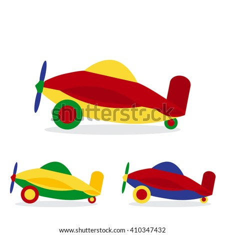 Set of colored airplanes. Children's toy. Flat design style. Aircraft icon. Air transport. Vector illustration. - stock vector