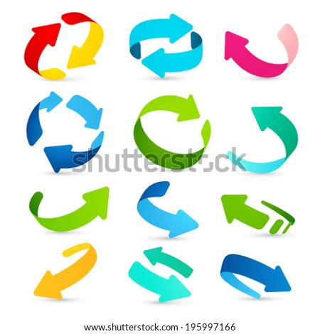 Set of colored arrows icons on white background - stock vector