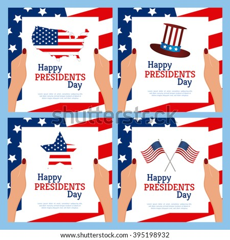 Set of colored backgrounds with text elements and for president's day