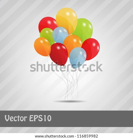set of colored ballons, vector illustration. EPS 10 - stock vector
