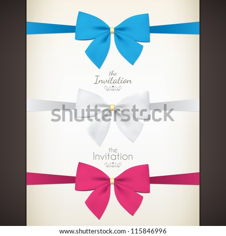 Set of colored bow for your invitations - stock vector