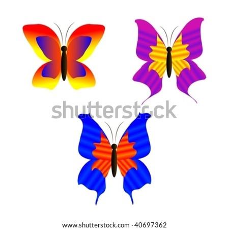 set of colored butterflies - stock vector