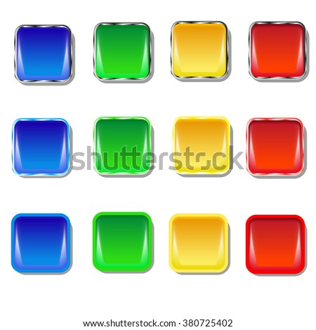 Set of colored buttons. Blue, green, yellow red.
