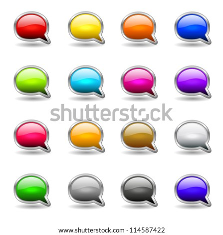 Set of colored buttons in the shapes of  bubble speech