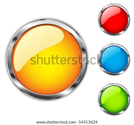 Set of colored buttons with chrome stroke - stock vector