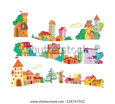set of colored cartoon houses painted by hand - stock vector