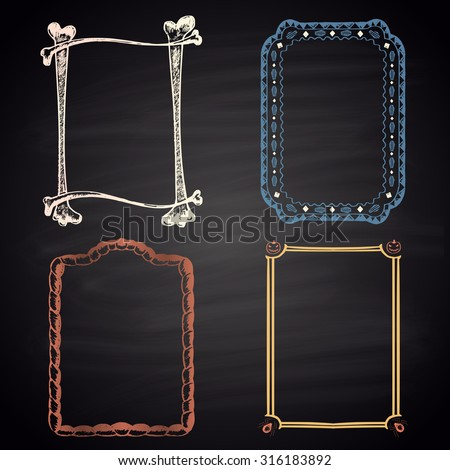 Set of colored chalk drawn frames for Halloween on a blackboard. Happy Halloween theme. - stock vector