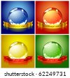 Set of colored Christmas spheres - stock vector