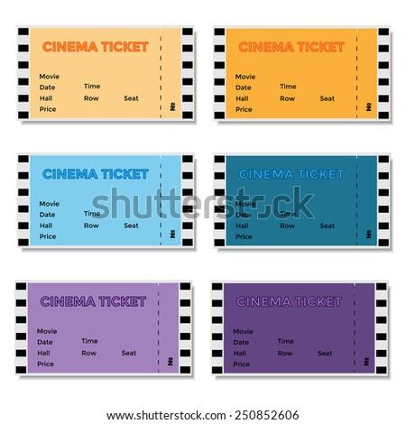 Set of colored cinema ticket. Vector illustration. - stock vector