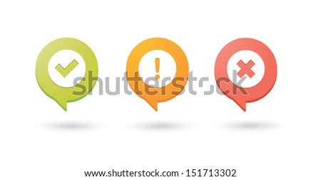 Set of colored comic balloons with check, alert and cancel icons - stock vector
