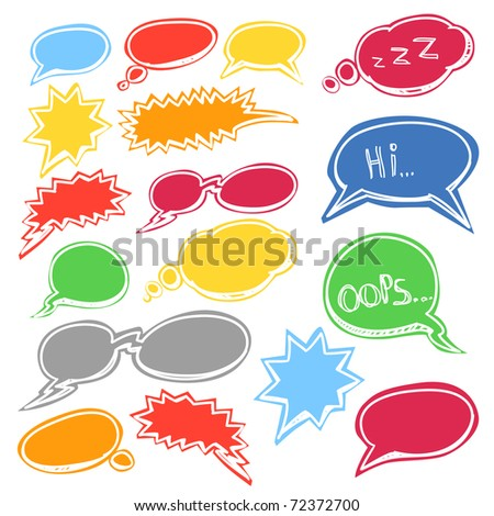 Set of colored comic style talk clouds - stock vector