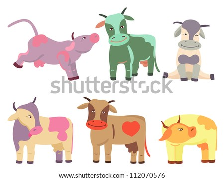 Set of colored cows, vector illustration - stock vector