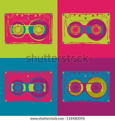 Set of colored disco cassettes with grungy contours. Vector image. - stock vector